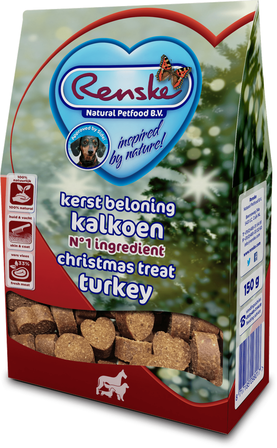 Renske Healthy Treats Hearts Turkey 150g - Christmas Edition-min