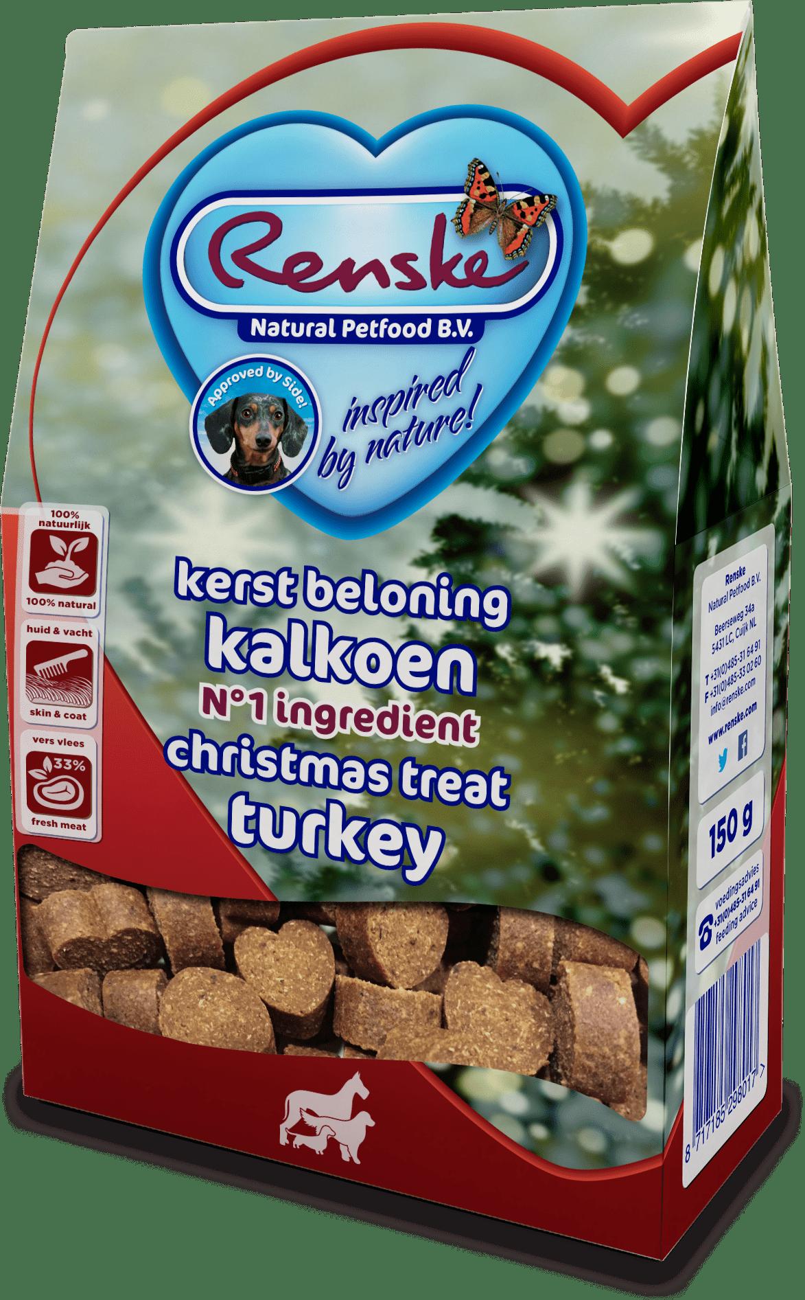 Renske Healthy Treats Hearts Turkey 150g - Christmas Edition-min