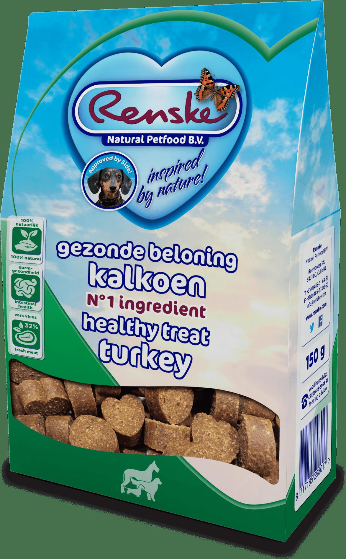 Renske Healthy Treats Hearts Turkey 150g-min
